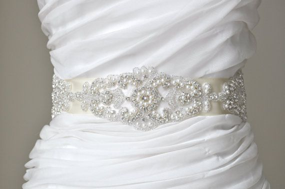 Wedding Sash  BeltBridal SashRhinestone by TangCreations on Etsy, $95.00