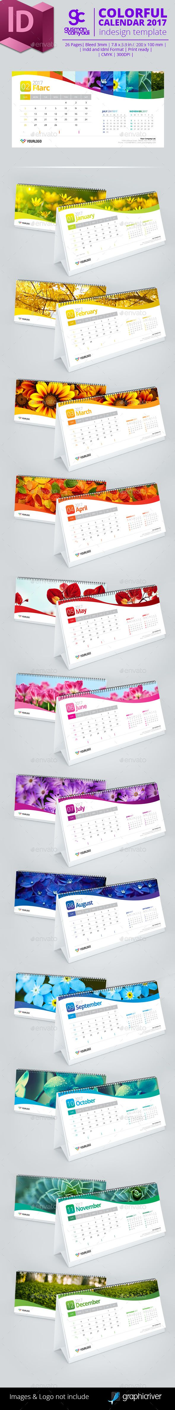 Colorful Calendar 2017 Template InDesign INDD. Download here: https://graphicriver.net/item/colorful-calendar-2017/16110119?ref=ksioks