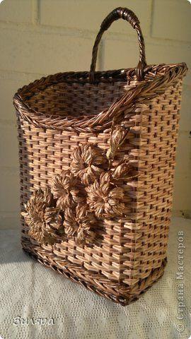 Поделка изделие Плетение Июль-август  Трубочки бумажные фото 1