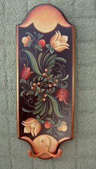 Tole Painted Plaque. I didn't paint this one but one exactly like it. I painted the pattern on other items as well. Looks difficult but EXTREMELY easy. Helen