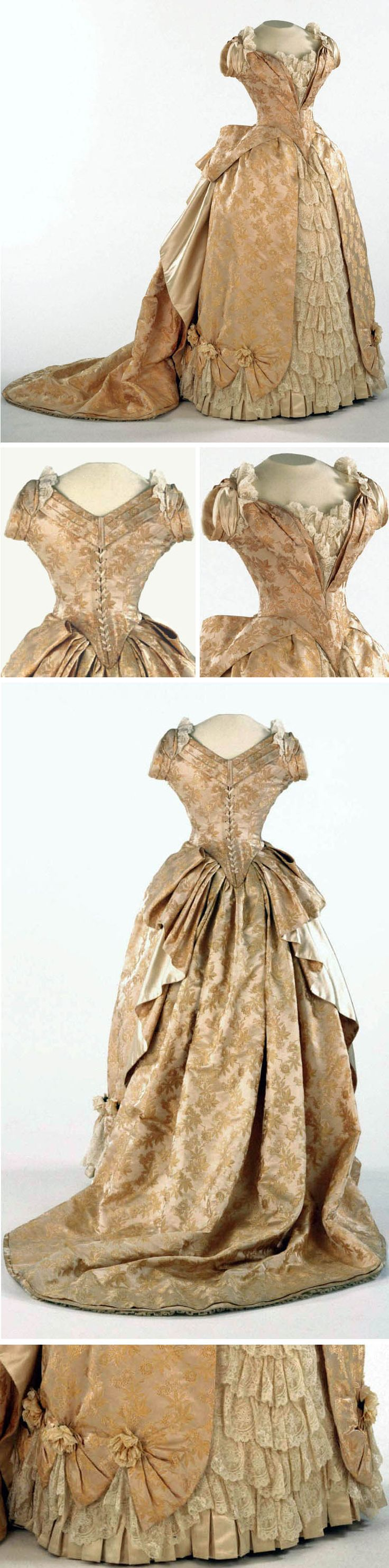 Evening dress, American or French, ca. 1886-87. Pale cream figured silk trimmed…