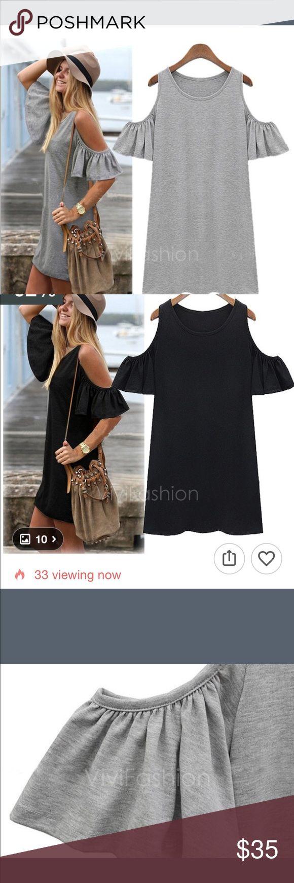 Cute Dress in Black or grey! w/ Butterfly sleeves Grey or black mini dress w/ butterfly sleeve. maymay's boutique Dresses Mini