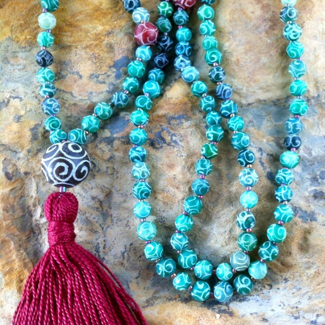 carved tibetan jade mala prayer beads