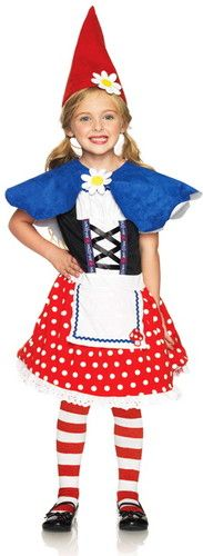 New Girl's Cute Garden Gnome Dress N Cape N Hat Outfit Kids Halloween Costume | eBay