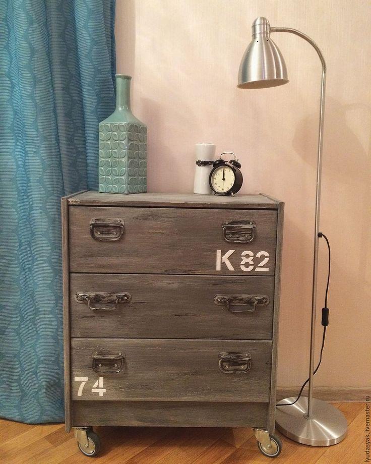 Купить Комод из массива сосны в стиле лофт на колесах - серый, комод, Мебель, интерьер, перекраска