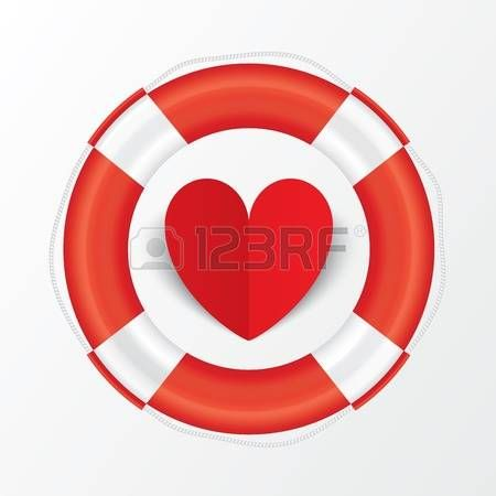 Red paper heart in lifebuoy. Valentines day card on white background. Cut from paper. Vector illustration Vector