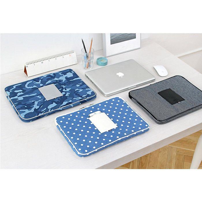 Indigo The Basic cotton denim laptop pouch case 13…