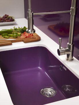 Purple sink and backsplash
