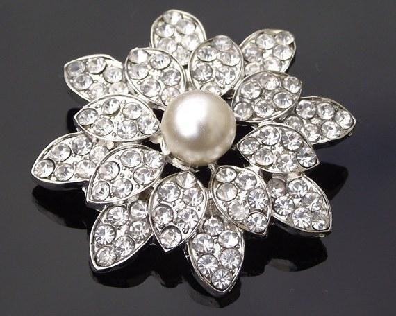 Wedding Brooches - Beautiful Vintage Style Pearl Brooch, Rowena