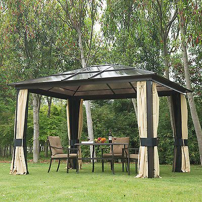 12x10 Outdoor Patio Canopy Party Gazebo Shelter Hardtop W Mesh And Curtains