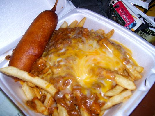 Corn dog, 1.85 and chili cheese fries, 2.65. Pete's Blue Chip: Classic American comfort food in Eagle Rock
