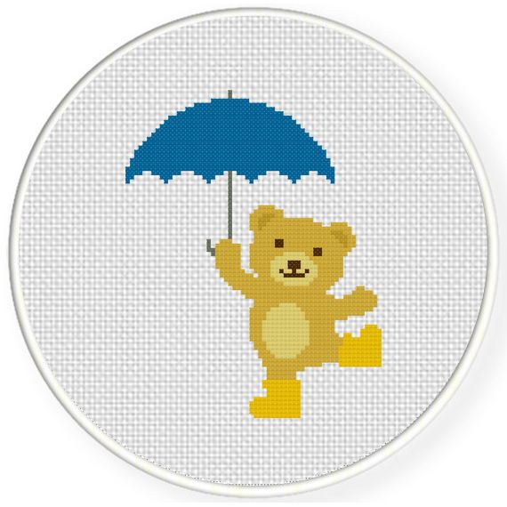 Umbrella Bear Cross Stitch Illustration