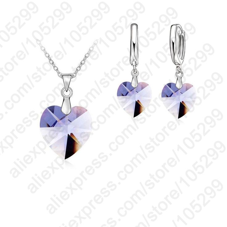 One Set  Austrian Crystal 925 Sterling Silver Jewelry Heart Pendant Necklaces Lever Back Earrings Woman Accessories Gift