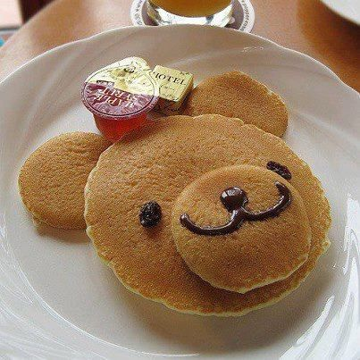 Teddy bear pancakes to serve at a Goldilocks and the three bears party