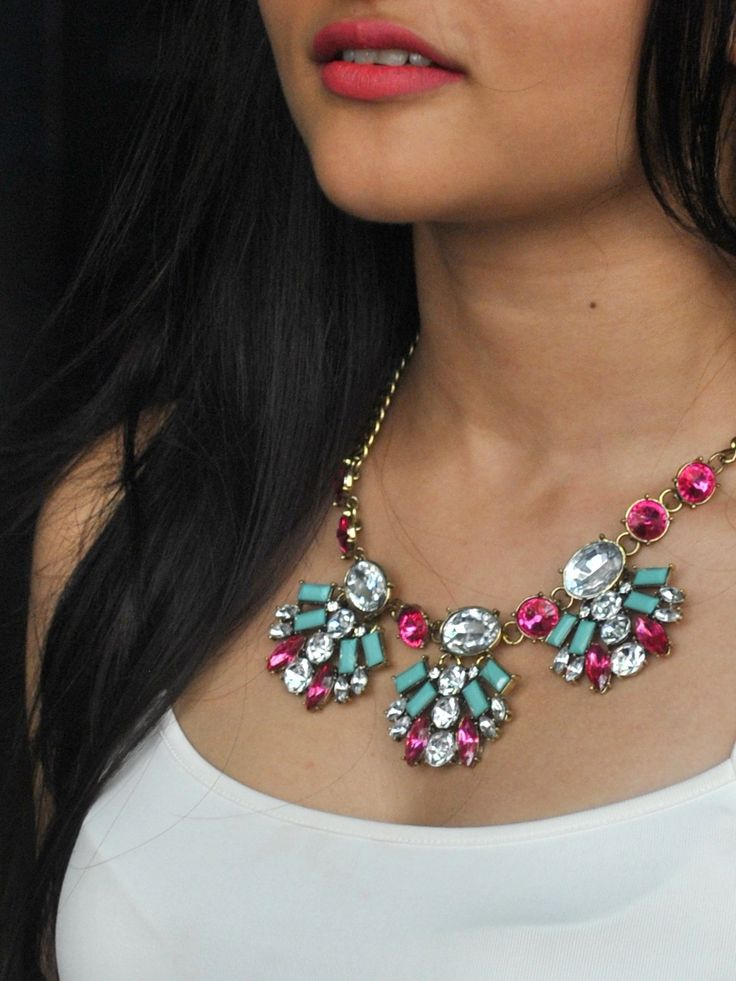 Style Fiesta Spring Thrills Multi Colored Statement Necklace #Party #StatementJewelry #Modern