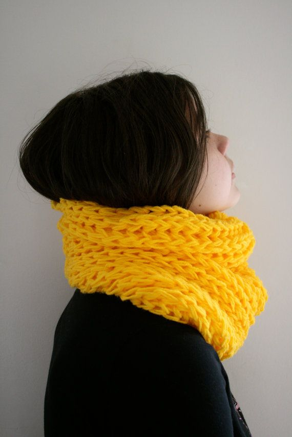 Chunky Cowl Infinity Scarf Dandelion Sunny by knittylittlesecret, $40.00