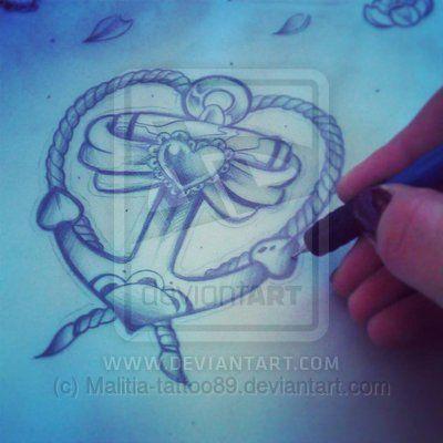 Heart anchor tattoo by Malitia-tattoo89