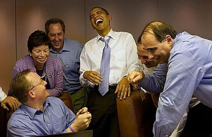 Photos of Obama Being Awesome: Obama Laughing with Aides