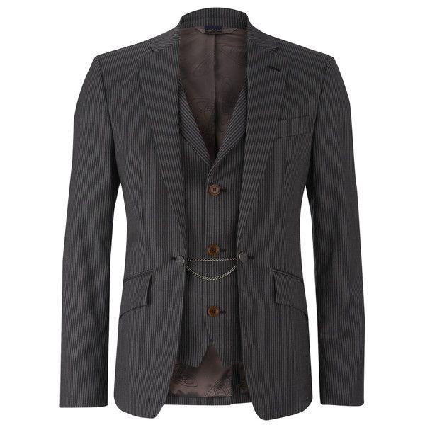 Vivienne Westwood MAN Men's Striped Waistcoat Jacket - Grey Stripe ($1,255) ❤ liked on Polyvore featuring men's fashion, men's clothing, men's outerwear, men's jackets, grey, mens grey jacket, mens gray leather jacket, mens outerwear, mens jackets and mens grey waistcoat