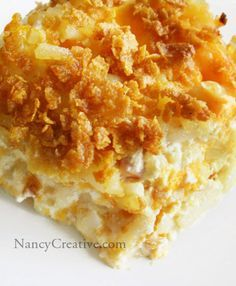 SO DAMNED GOOD!!!! Cheesy Hashbrowns: 2 lbs thawed hash browns, 1/2 c melted butter, 1/4 t pepper, 1 t salt, 1/2 c chopped onion, 1 can cream of chicken soup, 2 c sour cream, 2 c shredded cheddar, (mix all above & put in greased 9x13 pan), then combine 1/4 c melted butter with 2 c crushed corn flakes and spread on top of potato mixture, bake at 350 for 50-60 min  1