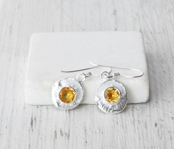 Citrus Yellow Citrine Sterling Silver Earring  by SunSanJewelry, $97.00