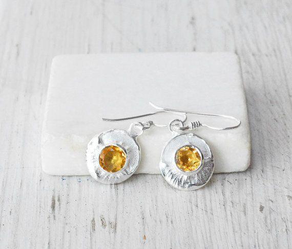 Citrine Earrings Sterling Silver Earring by SunSanJewelry on Etsy