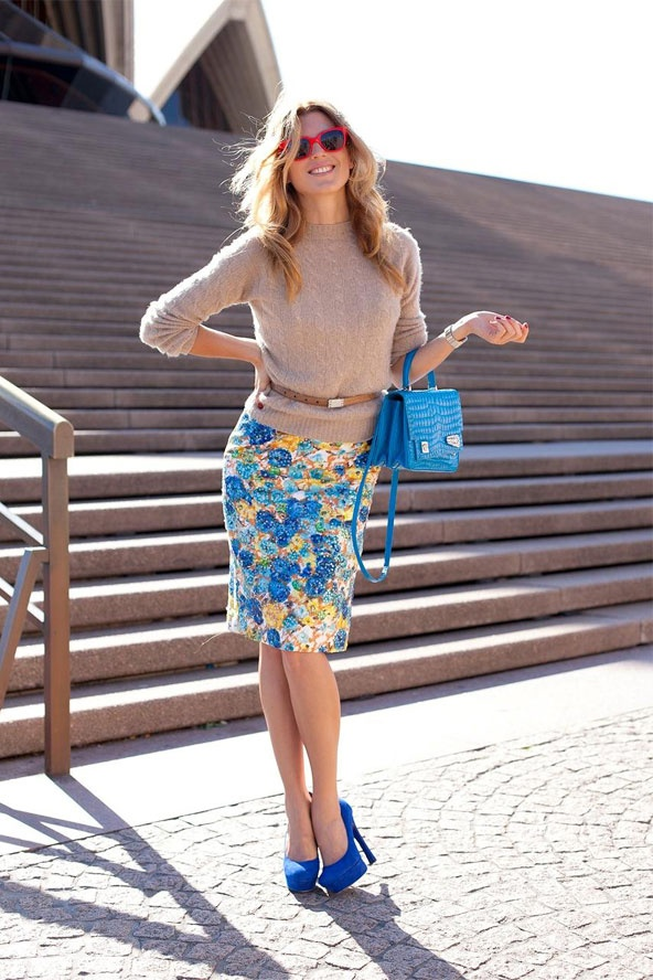Great outfit/colours: Sweaters, Floral Skirts, Floral Prints, Color, Street Style, Outfit, Blue Shoes, Floral Pencil Skirts, Bright Skirts