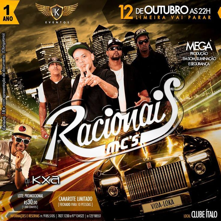 Job: E-flyer (Racionais Mc's), Cliente: K-Eventos, Software: Photoshop CS6.
