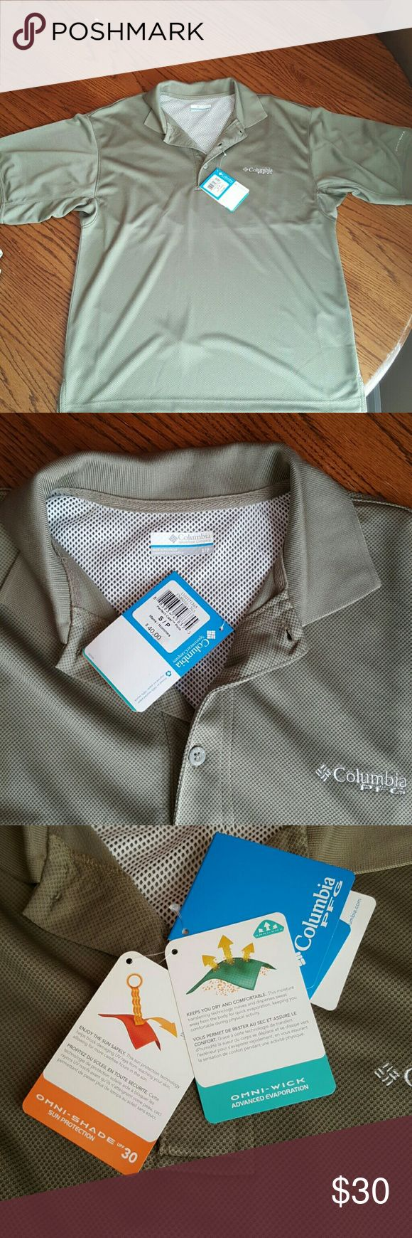 Men's Columbia PFG shirt. Dark greenish-tan men's Columbia PFG shirt. Short sleeves. Omni-shade sun protection. Omni-wick advanced evaporation. Columbia Shirts Polos