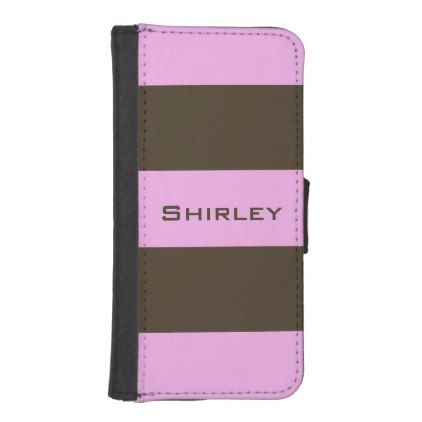 Pink and Chocolate Brown Wide Stripes by STaylor iPhone SE/5/5s Wallet - pattern sample design template diy cyo customize