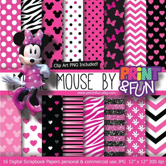 MINNIE MOUSE Clubhouse Disney Digital Paper Patterns Background black pink fuchsia glitter chevron zebra invitations scrapbook on Etsy, $4.28