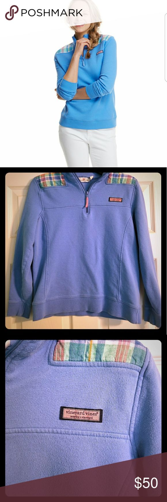 Periwinkle Vineyard Vines Shep Shirt A gorgeous periwinkle blue Vineyard Vines Shep Shirt. Worn only a couple times, although there is slight pilling. The shirt is not quite as bright of a blue as the model shows. Vineyard Vines Tops Sweatshirts & Hoodies