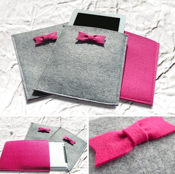 Custodia per tablet in feltro con fiocchetto ~ Tablet felt case with little bow - di @Casa94 via it.dawanda.com