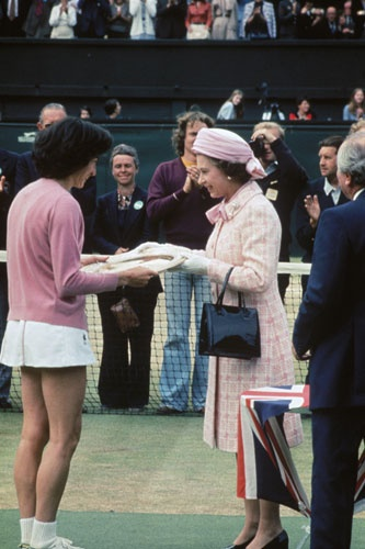 6) Wade's jubilee triumph, 1977    Queen Elizabeth II presents the trophy to Virginia Wade after she won the women's singles