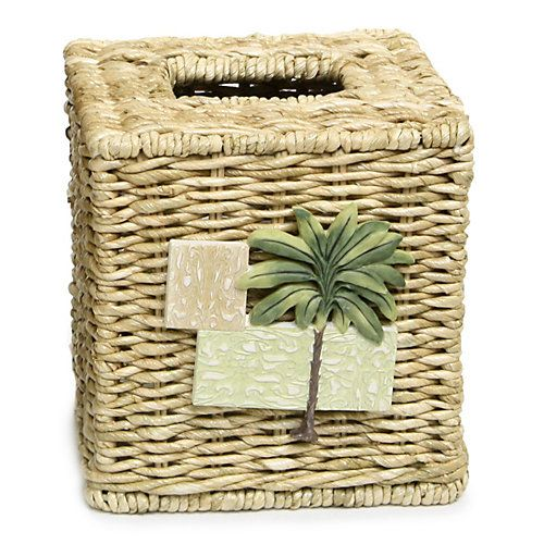 Add a tropical touch to your bathroom with this Citrus Palm tissue box that is made of wicker