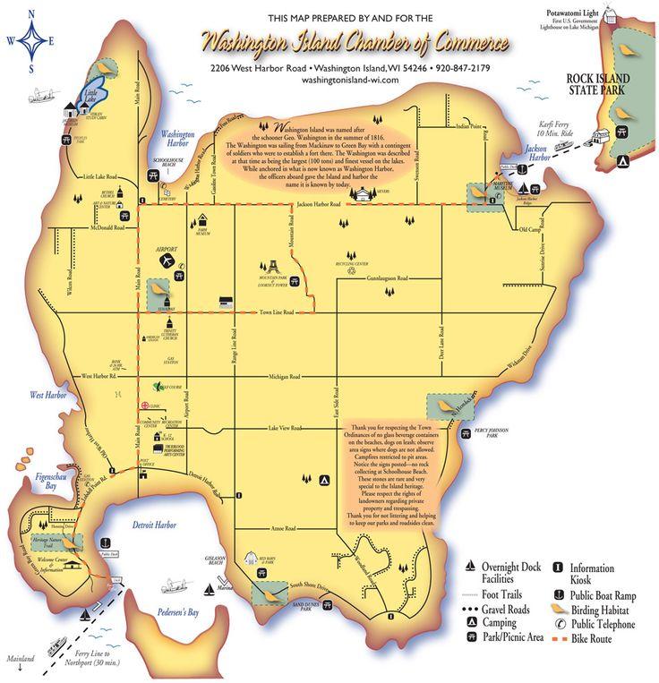 Washington Island Map WI USA X Miles I So Miss Living Here - Usa map wisconsin