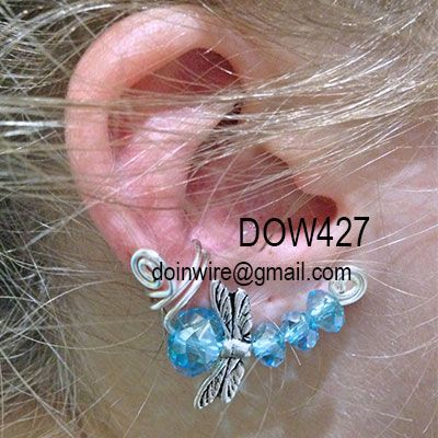 doinWire Double Scroll Ear Cuff with bright blue crystals and dragonfly wings bead. DOW427