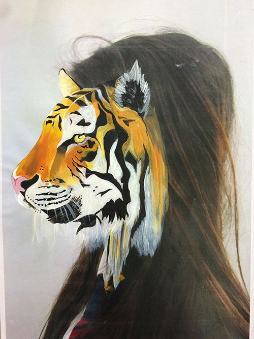 photo marouflée, Painture,animal portraits, portraits, painted portraits, pittura deli animal, Peinture aux animal, Charlotte Caron, Charlotte Caron Examples, Metamorphosis, BTEC UNIT 2, Animal Painting, GCSE painting, GCSE examples, Painting Examples, BTEC examples, BTEC Art and design, BTEC Level 2, BTEC Level 3, GCSE, WJEC Art, EDEXCEL ART, AQA ART, Yr 11 Art, Departmentart.co.uk, Department art, Art department, I'arte,