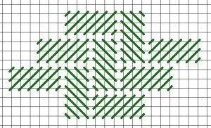 Flat Pattern needlepoint stitch. A picture, graph, how to work this stitch, how difficult and other names are included on this page.