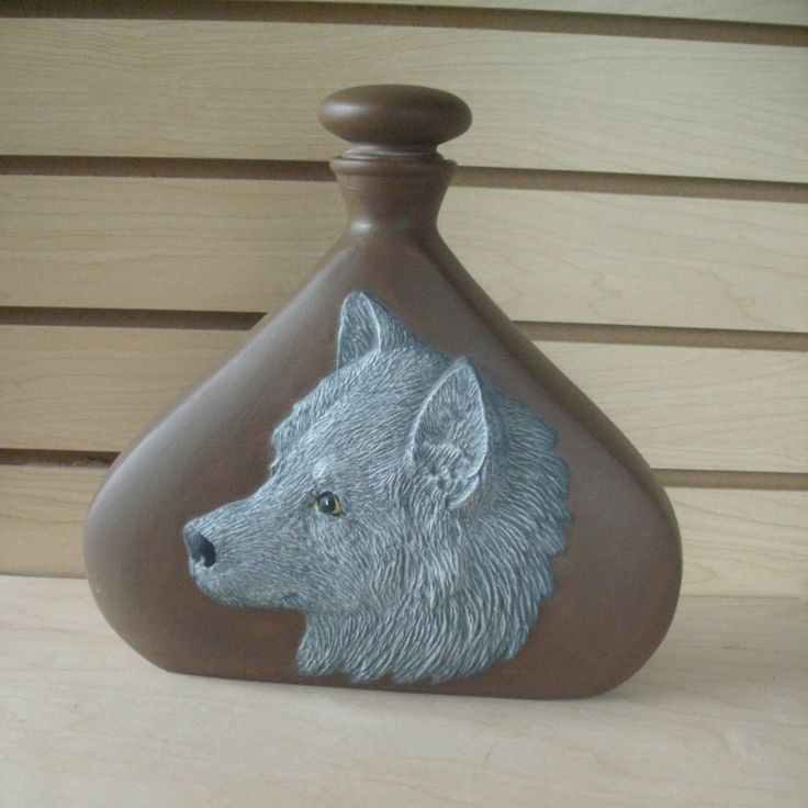 Ceramic gray grey wolf decanter wolf decor wolf lover southwestern art Indian spirit animal bottle decorative wolf cabin decor lodge decor by MapleHillCeramics on Etsy