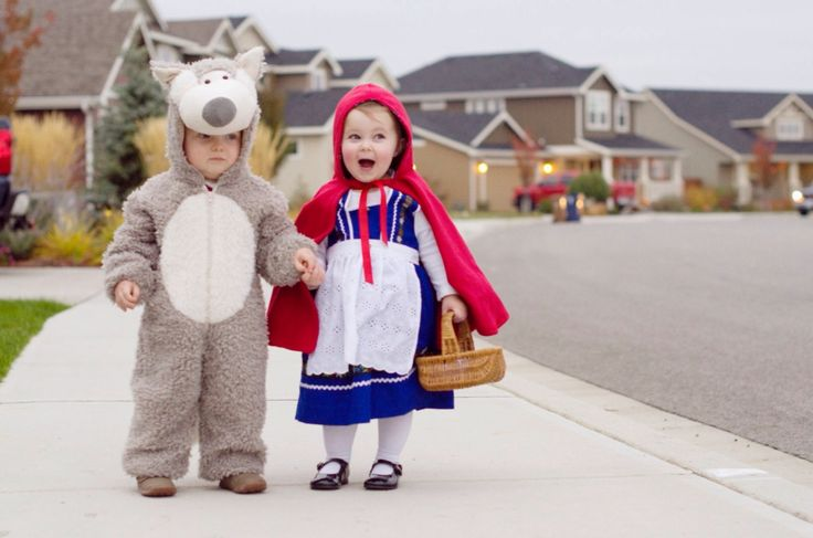 Super cute toddler boy and girl Halloween costumes. Big Bad Wolf and Little Red Riding Hood.