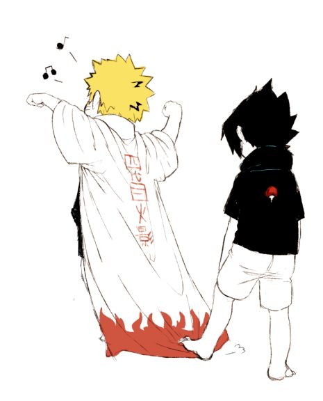 Naruto: IM GONNA BECOME HOKAGE Sasuke: *steps on cloak* *ruins life forever* Naruto: *cries in bed* Sasuke: *puls a troll face*