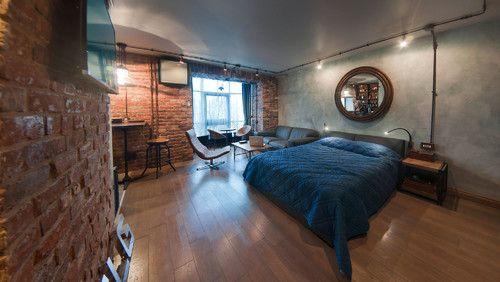 Лофтовая спальня, открытая проводка