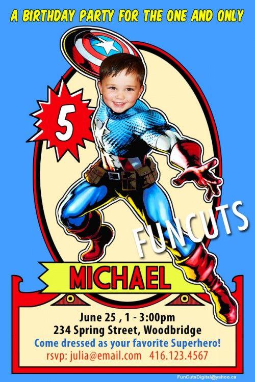 Captain America Superhero Invitation, Superhero Birthday Invitation