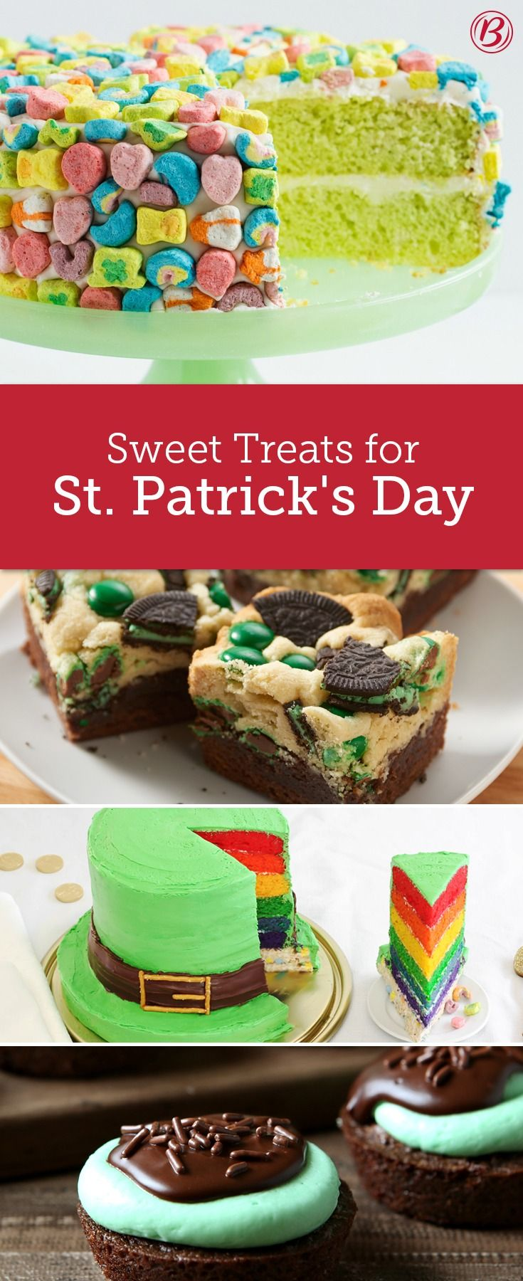 Whether it's a show-stopping cake frosted and adorned with Lucky Charms, or a rich and fudgy grasshopper mint brownie bite, these festive treats for St. Patrick's Day are guaranteed to make all of the leprechauns in your life feel extra lucky!