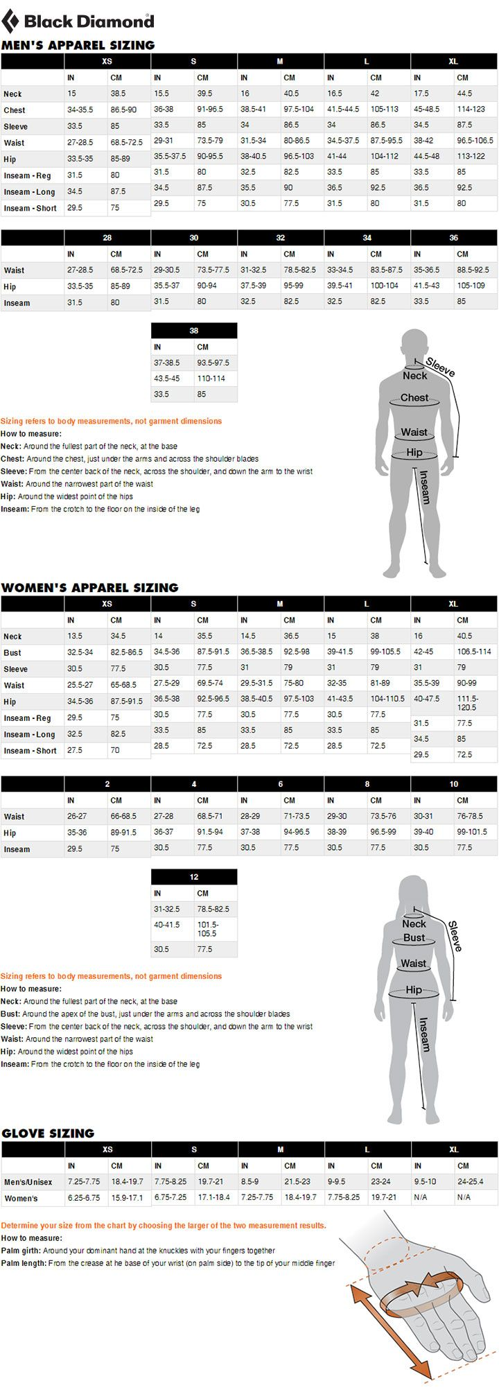 Black Diamond Clothing and Gloves Size Chart