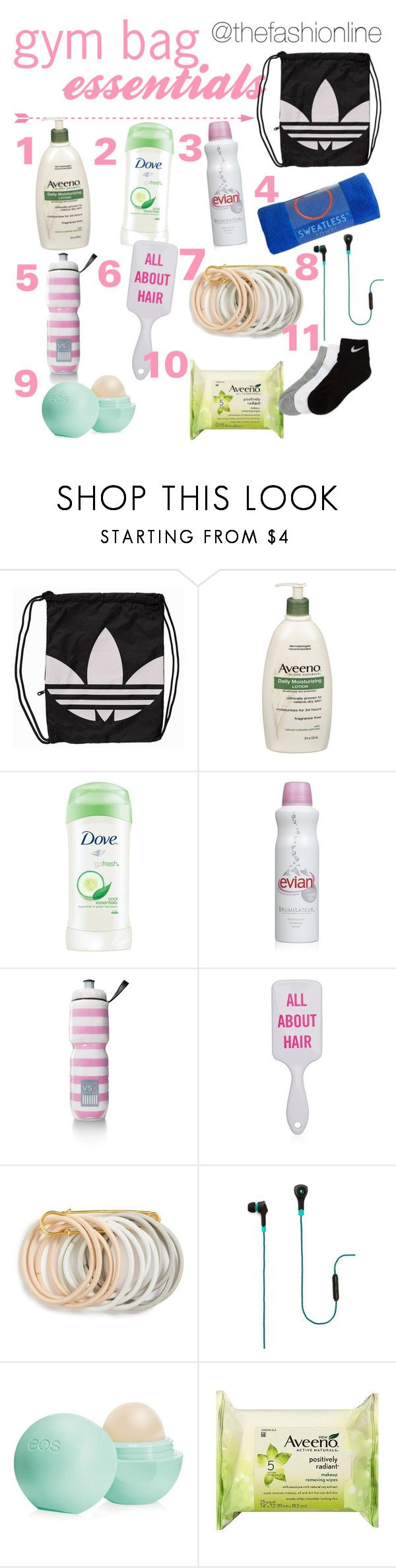 """""""What's In My Gym Bag"""" by thefashionline ❤ liked on Polyvore featuring adidas Originals, Aveeno, Dove, Victoria's Secret, Odeme, Merkury Innovations, Eos and NIKE"""