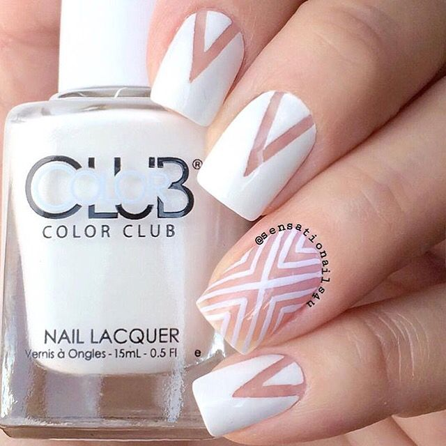 ⚪️Negative space manicures are the modern way to go! Thank you @sensationails4u ⚪️  Created using: Deep Single Chevron and Right Angle  #NailVinyls www.snailvinyls.com