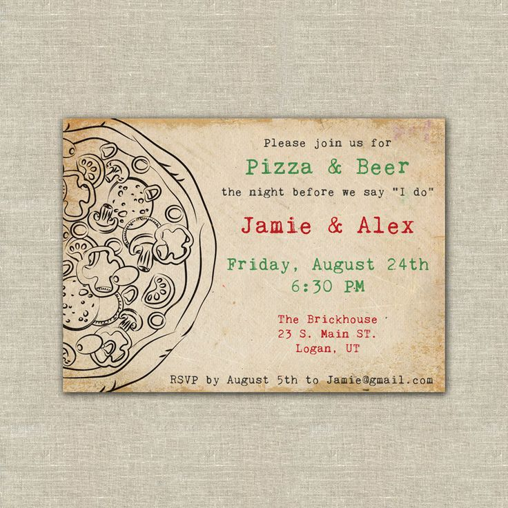 pizza party, pizza and beer, wedding rehearsal dinner, digital file. $20.00, via Etsy. We are having a pizza and beer night before our wedding too!