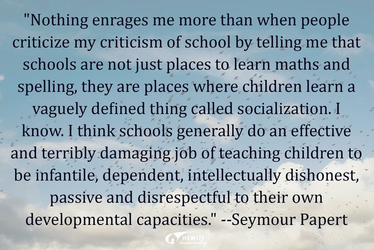 """""""Nothing enrages me more than when people criticize my criticism of school by telling me that schools are not just places to learn maths and spelling, they are places where children learn a vaguely defined thing called socialization. I know. I think schools generally do an effective and terribly damaging job of teaching children to be infantile, dependent, intellectually dishonest, passive and disrespectful to their own developmental capacities."""" —Seymour Papert"""